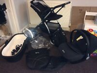 Silver cross wayfarer travel system pram/buggy/car seat with accessories in chrome and black