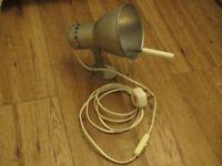 Vintage/industrial style silver metal swivel wall lamp/bed lamp