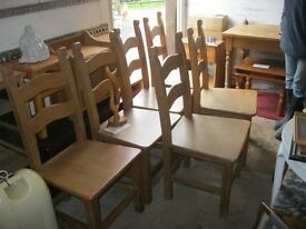 6 x MATCHING ORNATE SOLID & STURDY FARMHOUSE CHAIRS. VERY HEAVY. VIEWING/DELIVERY AVAILABLE