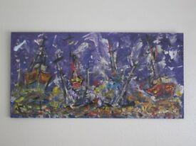 Large Oil Painting on Ply Board, Ships by Night