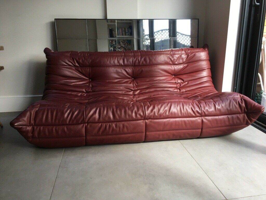 Ligne Roset Togo Three Seater Burgundy Leather Sofa By Michael Ducaroy In Great Condition