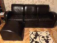 Modular pu leather sofa - BARGAIN - suite chocolate brown 1930s style