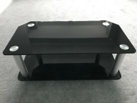 Black Glass TV Stand - Two Tier