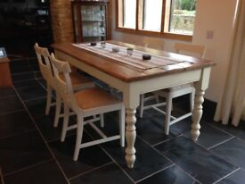 Four shabby chic dining chairs