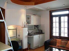 Studio apartment with raised sleeping area
