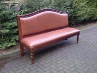 7' Long Solid Mahogany / Tan Leather Bench