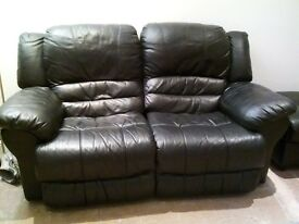 Leather recliner sofas and leather foot storage