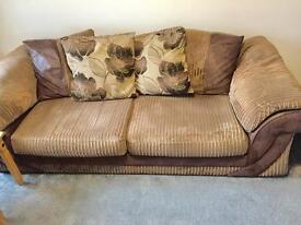 Cord brown sofa, two chairs and footstool