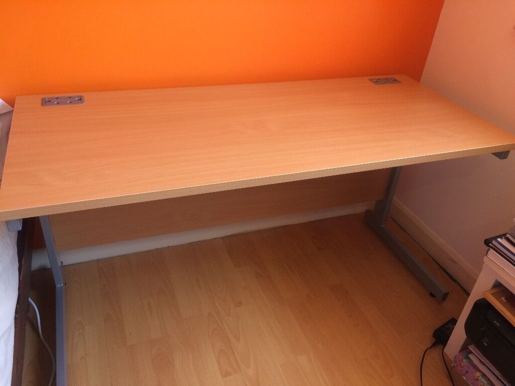 Ergonomic workstation brown wooden office desk with metal frame £95