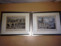 Pair of prints Edinburgh 1800's frame ornament mantlepiece picture