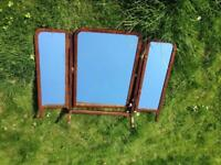 VINTAGE ANTIQUE SHABBY CHIC WOODEN 3 SECTION DRESSER TABLE TOP MIRROR