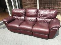 3 seater real leather! Reclining sofa