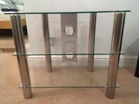 Glass and chrome tvs stand