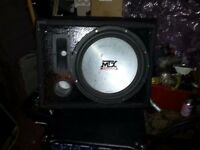 mtx sub in box + mosfet amplifier 600w