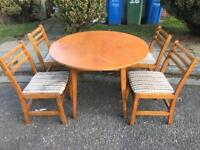Solid Wood Drop Leaf Table and 4 Chairs - Free Delivery