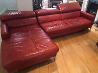 Deep red full leather L shape- corner sofa