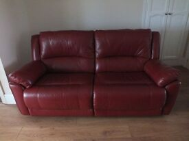 2 House of Fraser Linea 3 seater electric reclining sofa's in Rasperry