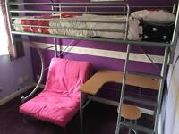"""""""C"""" Bunk Deluxe - Bunk bed with Desk, Stool and Futon"""