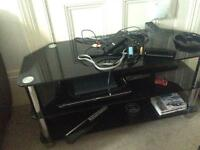 FREE! Black and chrome Tv stand
