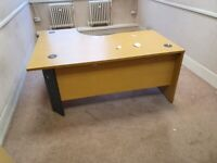 Office L-shaped table/desk in yew