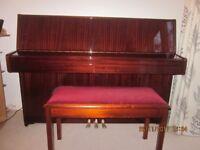 Linden Upright Piano, Mahogany finish plus Stool