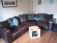 BEAUTIFUL chocolate brown and turquoise Sofa