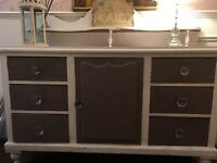 Antique lovely chest drawer unit with decorative top. Solid wood painted in chalk paint.