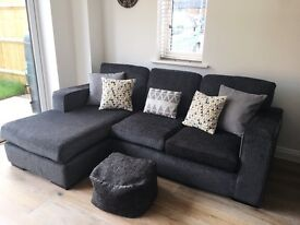 DFS Rapide Corner / Chaise Sofa in Charcoal Grey