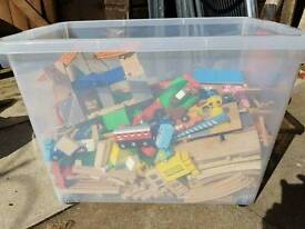 Huge lot of wooden train set