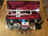 Yamaha trumpet, case , mouthpieces , mutes and stand