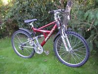 full suspension cycle,21 speed,17 in frame,runs perfectly,suit lady/gent