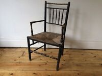 Beautiful Antique Morris Sussex Chair Rush Seat Worn and Vintage