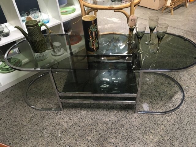 Mid Century Vintage Chrome And Smoked Glass Coffee Table