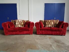 CORINTH DESIGNS LOUNGE SUITE 2 RED BURGUNDY FABRIC DESIGNER SOFAS SOFA SETTEE SET DELIVERY AVAILABLE
