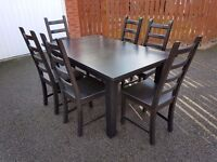 Ikea Extending Solid Wood Black Table & 6 Chairs FREE DELIVERY 0099