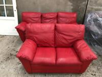 Modern Red Leather Suite Of Furniture