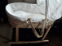 Moses basket, stand and extra mattress