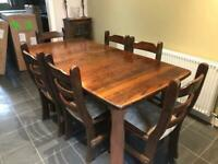 Solid oak extending dining table & 6 chairs