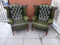 A Pair Of Green Leather Chesterfield Queen Ann Arm Chairs