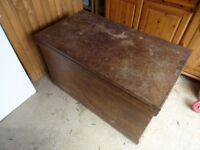 Antique Wooden Blanket box with 2 internal storage with key