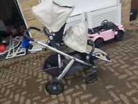 Uppababy vista Tandum double twin buggy & pram 3 in 1 cream stroller