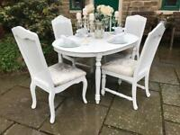 Dining Table & 4 Chairs ~ EXTENDS ~ CHAMPAGNE CRUSHED VELVET