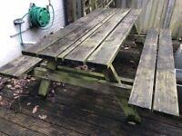 Outdoor Wooden Pub Bench / Picnic / Patio / Garden Table - H75 x L178 x W158