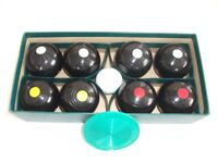 "Banda Indoor Carpet Bowls, Boxed Set. Very Good Condition. Approx 2½"" diameter"