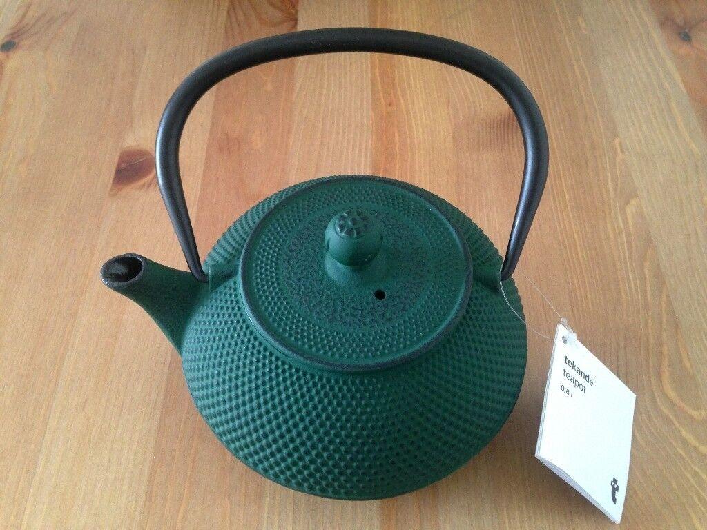 Green Japanese-style cast iron teapot - BRAND NEW