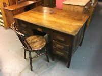 VINTAGE DESK WITH DOVE TAIL DRAWERS EITHER SIDE AND ONE IN MIDDLE (Chair sold separately)