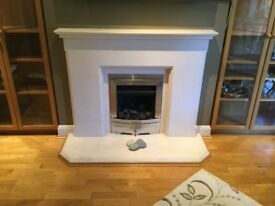 Natural Portland stone fireplace and gas fire