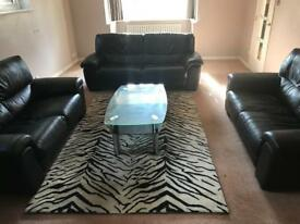 Black leather sofas, rug and coffee table