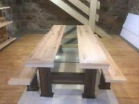Oak , steel and glass table and benches unique can be made to any size.