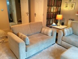 3 seater sofa, 2 seater sofa and foot stool for sale less than one year old.